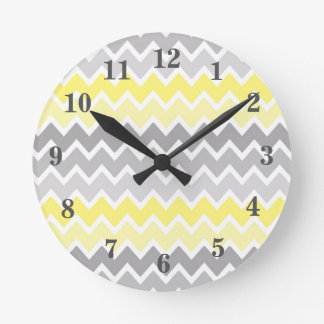 Yellow Grey Gray Ombre Chevron Zigzag Pattern Clock