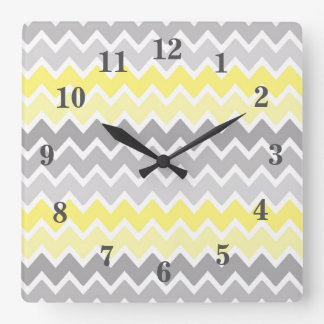 Yellow Grey Gray Ombre Chevron Zigzag Pattern Square Wall Clock