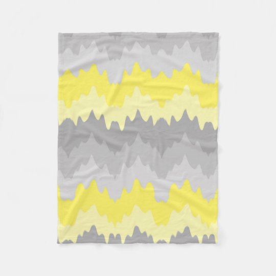 Yellow Grey Grey Ombre Chevron Zigzag Fleece Blanket