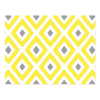 Yellow Grey Ikat Diamond Pattern Postcard