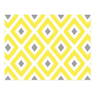 Yellow Grey Ikat Diamond Pattern Postcard