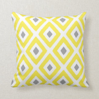 Yellow Grey Ikat Diamond Pattern Throw Pillow