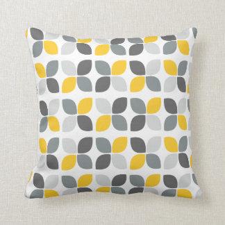 Yellow Grey Modern Flower Pattern Cushion