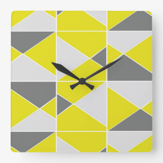 Yellow Grey Pattern - Clock