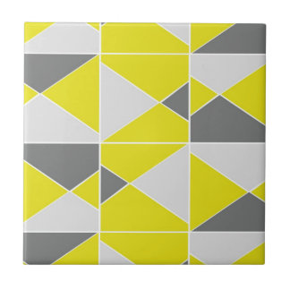 Yellow Grey Pattern Small Square Tile