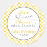 Yellow Grey Polka Dot Candy Buffet Stickers