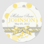 Yellow & Grey Polka Dots Announcement Round Stickers