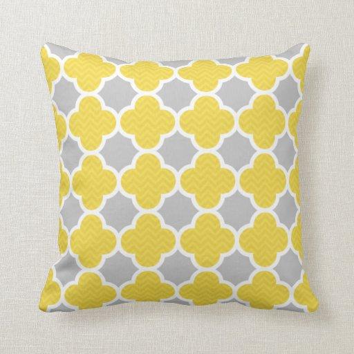 Yellow amp Grey Quatrefoil Geometric Pattern Throw Cushions