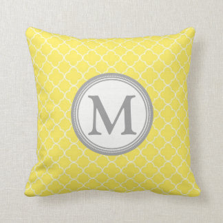 Yellow Grey Quatrefoil Monogram Decorative Pillow