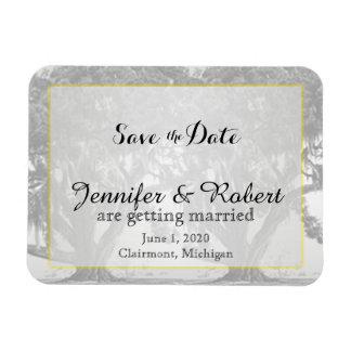 Yellow Grey Silver Oak Mossy Wedding Save the Date Rectangular Photo Magnet