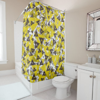 Yellow Grey Triangle Shower Curtain