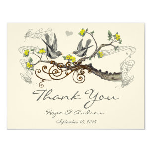 Wedding Thank You Cards With Po | Yellow Bird Thank You Invitations Announcements Zazzle Co Uk