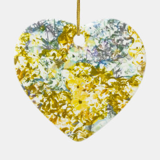 Yellow grey water colour flower pattern design ceramic heart decoration