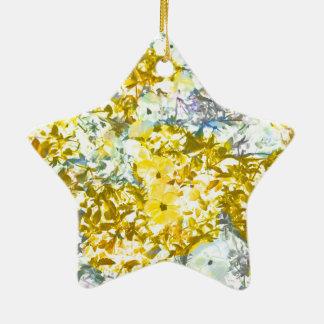 Yellow grey water colour flower pattern design ceramic star decoration