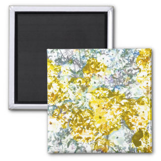 Yellow grey water colour flower pattern design square magnet