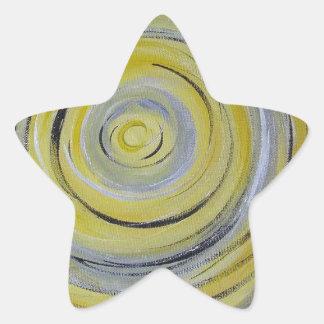 yellow grey white circles star sticker