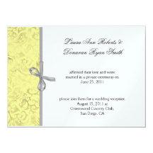 Yellow Grey White Damask Post Wedding 14 Cm X 19 Cm Invitation Card