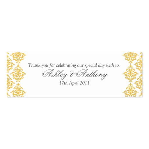 Yellow Grey White Damask Wedding Favour Tags Business Cards