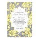 Yellow Grey White Floral Damask Wedding Invitation