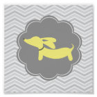 Yellow & Grey Wiener Dog Nursery Art Print