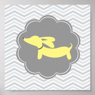 Yellow & Grey Wiener Dog Nursery Art Print