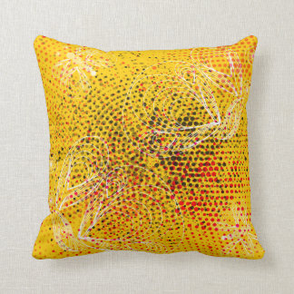 Yellow grunge rustic halftones with butterflies cushion