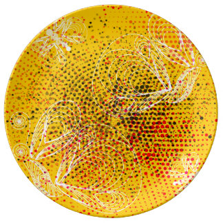 Yellow grunge rustic halftones with butterflies plate