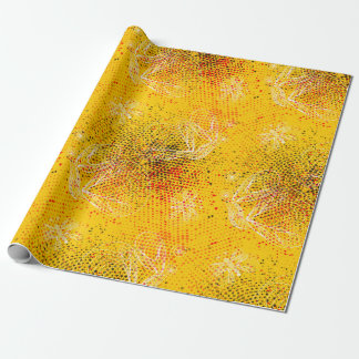 Yellow grunge rustic halftones with butterflies wrapping paper