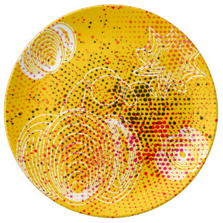 Yellow grunge rustic halftones with pumpkins plate