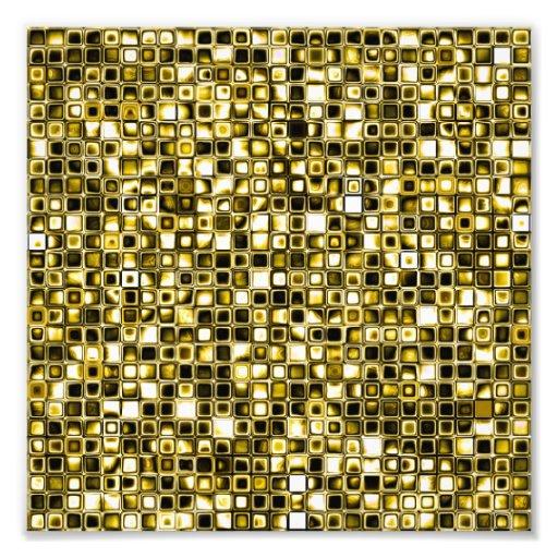 Yellow Grunge Textured Grid Pattern Photographic Print