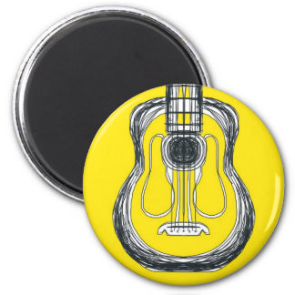 Yellow Guitar Monster Face Magnet