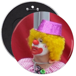 YELLOW HAIRED CLOWN BADGE BUTTON