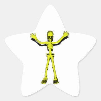 Yellow Halloween Skeleton Star Sticker