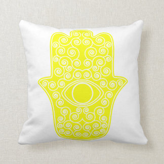 Yellow Hamsa-Hand of Miriam-Hand of Fatima.png Cushion