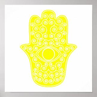 Yellow Hamsa-Hand of Miriam-Hand of Fatima.png Poster