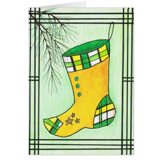Yellow Hanbok Christmas Stocking Card