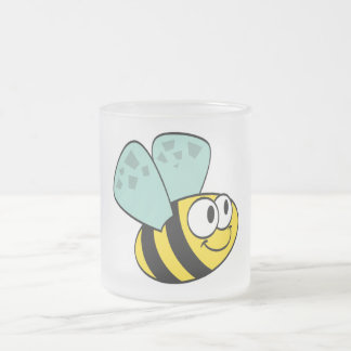 Yellow Happy Bee Tshirts and Gifts Frosted Glass Mug