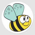 Yellow Happy Bee Tshirts and Gifts Round Sticker