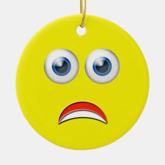 Yellow Happy Face Emoji Custom Name Christmas Ornament