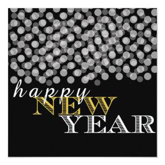 Yellow Happy New Year Black Bright Lights Card 13 Cm X 13 Cm Square Invitation Card