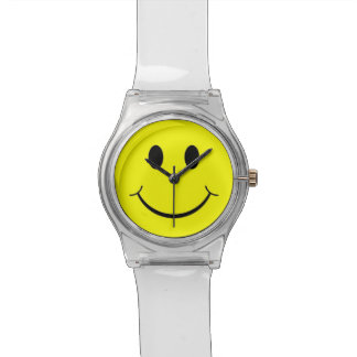 Yellow Happy Smiley Face 70's Clear Lucite Watch Wristwatches