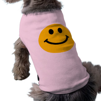 Yellow happy smiley face dog t-shirt