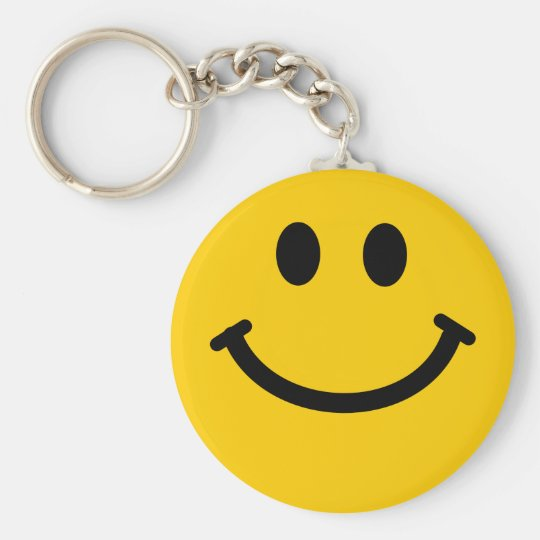 Yellow happy smiley face keychain