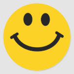 Yellow happy smiley face stickers