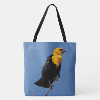 Yellow-Headed Blackbird on a Windy Day Tote Bag