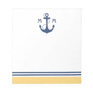 Yellow Heart Anchor Monogram Notepad