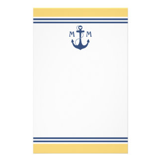 Yellow Heart Anchor Monogram Stationery