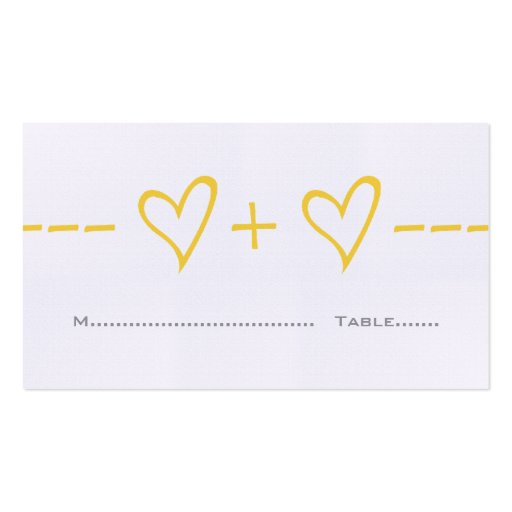 Yellow Heart Equation Place Card Business Card