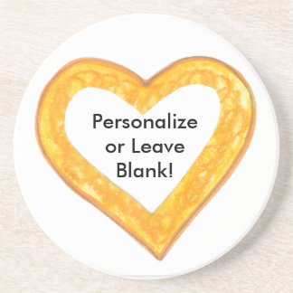 Yellow Heart Outline Beverage Coaster