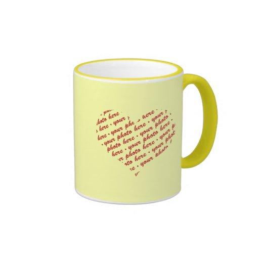 Yellow Heart Photo Frame Coffee Mug